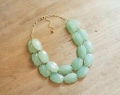 Aqua Mint Statement Necklace, Beaded Mint Necklace, Chunky Mint Bib Necklace, Mint Bridesmaid Necklace