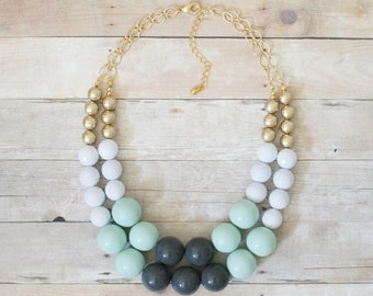 Gray and Mint Statement Necklace, Chunky Mint Necklace, Gray Statement Necklace, Beaded Gold Necklace