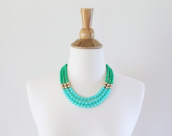 Kelly Green and Mint Statement Necklace, Mint Beaded Necklace, Aqua Statement Necklace