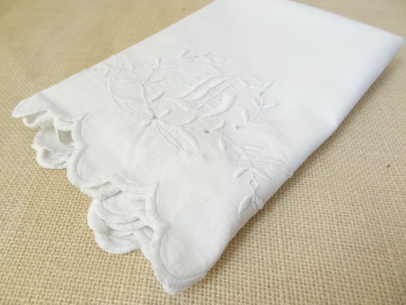 white pillowcase vintage shabby chic embroidered monagram