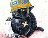 Tank Cat: Fine Art Watercolour Black Cat Print