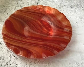 Fused Glass Bowl, Red Orange Art Glass Bowl, Autumn Decor Serving Bowl - 017