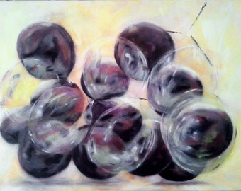 "Original oil painting Living room decor Contemporary art 23.5""x31.5"" Figurative fruits abstract grapes burgundy purple Dreams of Progeny"