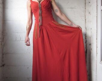Black Magic Woman 1930s Rayon Bias Cut Maxi Evening Dress xs