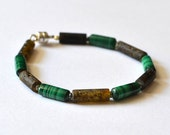 Baltic Amber Bracelet with green malachite Modern Bracelet Amber Jewelry - silver magnetic clasp