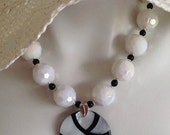 Black and White Bold Designer Necklace, White Faceted AB Acrylic Beads, Mother-Of-Pearl Inlaid Pendant, Sterling Silver