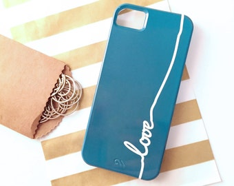 "SALE -  ""Love"" iPhone 5 Case in Teal (In Stock & Ready to Ship) - Gift for Her, Phone / Device Accessory"