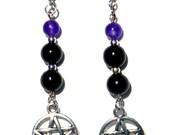 Black Onyx and Amethyst Pentacle Earrings ~ Third Eye Chakra ~ Root Chakra ~ Crown Chakra ~ Wisdom ~ Addiction ~