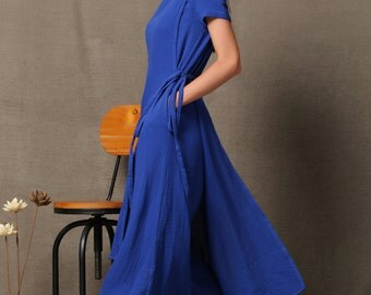 Linen wrap dress, cobalt blue dress, linen dress, blue linen dress, linen dresses for women, wrap around dress, womens dresses, dress C537