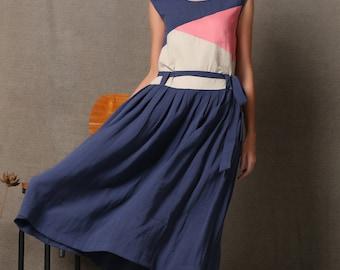Block Color Linen Dress - Blue Cream Pink Midi-Length Loose-Fitting or Belted Summer Sleeveless Handmade Women's Dress C542