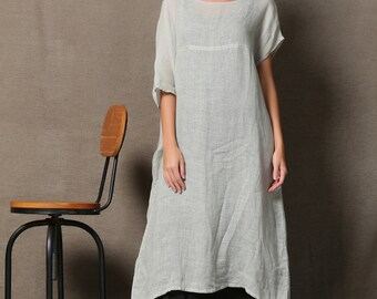 Beach Cover-up Tunic - Boho Style Summer Kaftan Kimono Style Maxi Gray Linen Beach Cover-Up C596