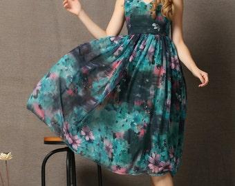 Blue Flower Chiffon Maxi Dress C587