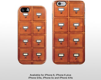 iPhone 6s iPhone 6 plus library card drawers plastic phone case. Featuring a vintage index card drawers for iPhone 4 iPhone 5 FP243
