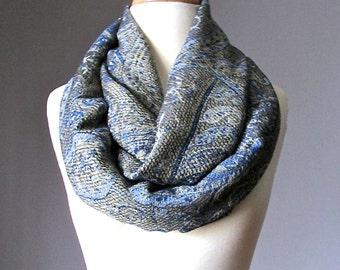 Denim infinity scarf, pashmina, chunky scarf, snood, paisley scarf