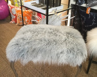 Real Natural Mongolian Lamb Fur Up Cycled ALUMINUM Stool Bench Tibet Lamb Sheepskin Ottoman Shabby Chic in SILVER GRAY