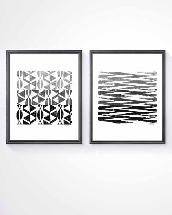 Black and White Tribal Prints, Set of 2 - 8x10