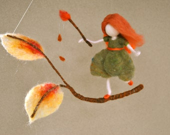 Autumn Fairy Waldorf inspired needle felted wall hanging :  Painting the leaves