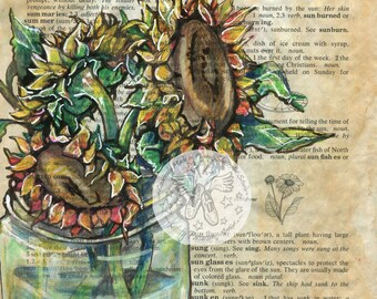 PRINT:  Sunflower Mixed Media Drawing on Antique Dictionary Page