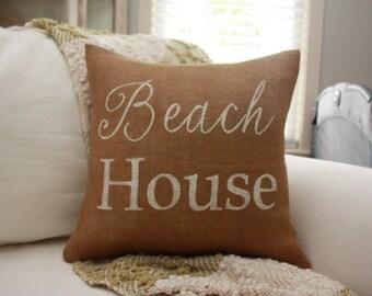 Burlap Pillow - Beach House Pillow / Beach House Decor / Nautical Pillow