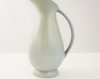 Red Wing Pitcher - Ewer - Vase - Light Greyblue - 5023 - Slate Blue - Wide-mouth Pitcher - Great Deco Styling - Red Wing Collectible