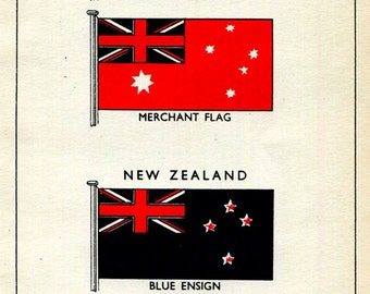 Flags AUSTRALIA and New Zealand Blue Ensign and Merchant Flag, Nautical Theme Vintage Print to Frame, 1930's