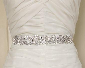 AMELIA - Bridal Gown Sash Belt, Crystal Sash, Wedding Dress Sash belt, Rhinestone Beaded Sash
