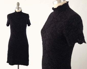 Vintage 90s Lace Bodycon Dress - Short Sleeve Black Mock Neck Party Cocktail Dress by Cachet - Stretchy Vintage Lace Mini Dress
