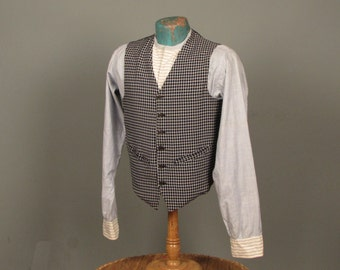 Vintage 1950s Men's Vest - Navy & White Check with Soft Knit Back by New Yorker Sportswear -- Mens Size S/M