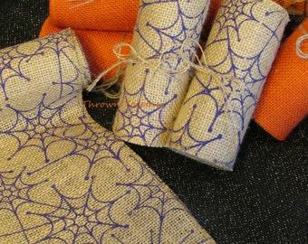 Halloween Spiderweb Burlap Ribbon, 5inch wide Halloween Ribbon, Halloween Garland, Purple Spiderwebs on Natural, Halloween Burlap Runner
