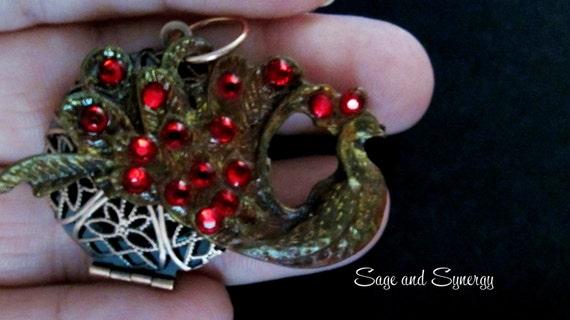 Handmade Bronze Oil Diffuser Red Swarovski Crystal Peacock Pendant