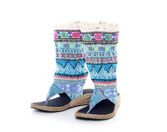 Size 7 Boots HMONG Fabric Hand Embroidered Laced Boots Thailand (SD018.32)