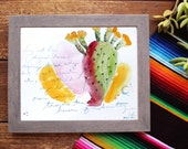 Cactus Watercolor Painting Sketchbook Page Cacti Fine Art Print of Original Desert Southwest Sonoran Prickly Pear Rainbow Arizona New Mexico