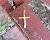 14kt Yellow & White Gold Cross Pendant A325