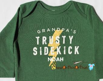 Personalized Grandpa's Trusty Sidekick Long Sleeve Green Onesie, Statement Shirt for Grandparents Day, Baby Boys Lighting Bolt Bodysuit