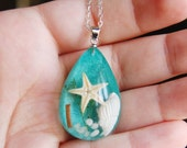 Glass Beach Necklace , Starfish Necklace , Shell Necklace , Beach Jewelry