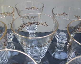 Wine Glasses Goblets with Wafer Stem - Lifetime China Homer Laughlin - Gold Crown Pattern - Set of 4 (4 sets available)