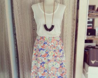 Sale, Floral midi skirt, Cotton skirt, Summer skirt, Pastel colors skirt, Trendy skirts, Skirt for wedding, Holiday skirt