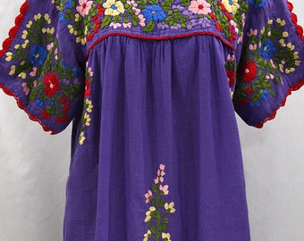 "Mexican Blouse XXL: ""Lijera Libre"" by Siren in Purple + Multi Colored Embroidery"