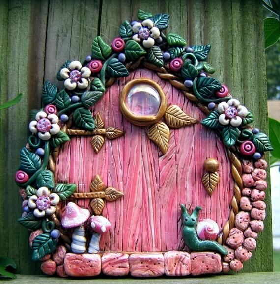 Pink perfection fairy door polymer clay pixie portal for Fairy pixie doors