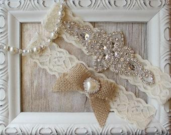 Country Wedding - Rustic Garter Set - Burlap Wedding Garter Set, Rustic Garter Set, Lace Bridal Garter, Burlap Garter Set, Rustic Wedding