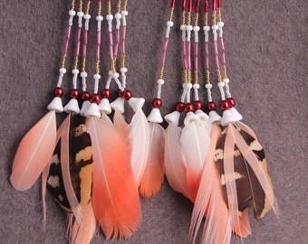 """Pink Feather Earrings Long Earrings""""Lovely Gift"""" Festival Pink Feather Earrings Long Pink Earrings Oriental Dancer Earrings Tribal Feathers"""