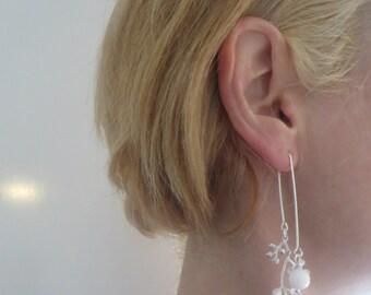 Leaf Thread Earrings,  White shell Earrings, Beaded Threads, Leaf Earrings