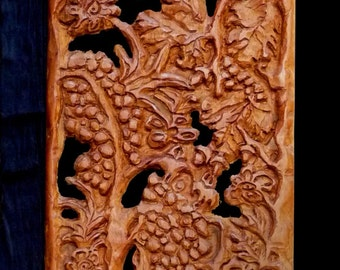 Hand carved wooden  Panel,wall hanging, Secret Garden,center piece,rustic chic,gift for you,