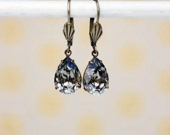 Black Diamond Swarovski Rhinestone Earrings, Swarovski Earrings, Bridesmaids Earrings