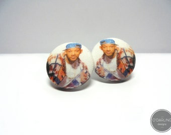MEGA SALE Fresh Prince of Bel Air Fabric Button Earrings