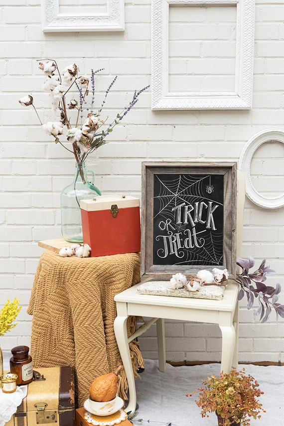Trick Or Treat Sign - Halloween Chalkboard Art - Halloween Decor -Black and White Halloween -Halloween Art