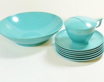 Turquoise Debonaire Melmac Dinnerware Set