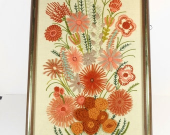 Crewel Embroidery Flowers - Large - Framed