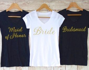 Bridesmaid Shirt. Gold Glitter Bridesmaid Shirts. Bride Shirt. Maid of Honor Shirt. Bachelorette Party Shirts. Bridal Party Shirts