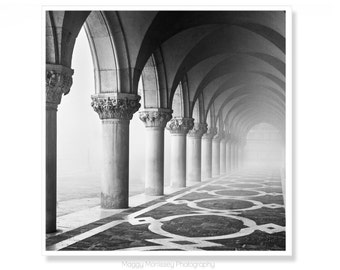 Venice Photography, Architecture Art, Black and White Wall Art, Architecture Print, The Doges Palace, Wall Art Prints